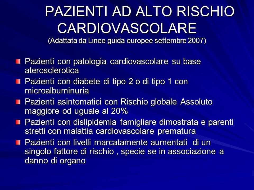 PAZIENTI AD ALTO RISCHIO CARDIOVASCOLARE (Adattata da Linee guida europee settembre 2007)
