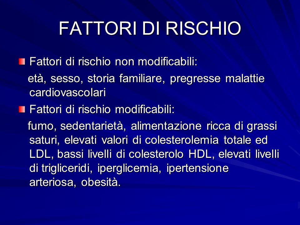 FATTORI DI RISCHIO Fattori di rischio non modificabili: