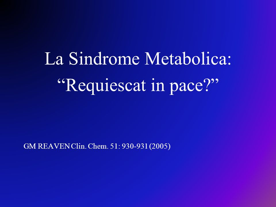 La Sindrome Metabolica: