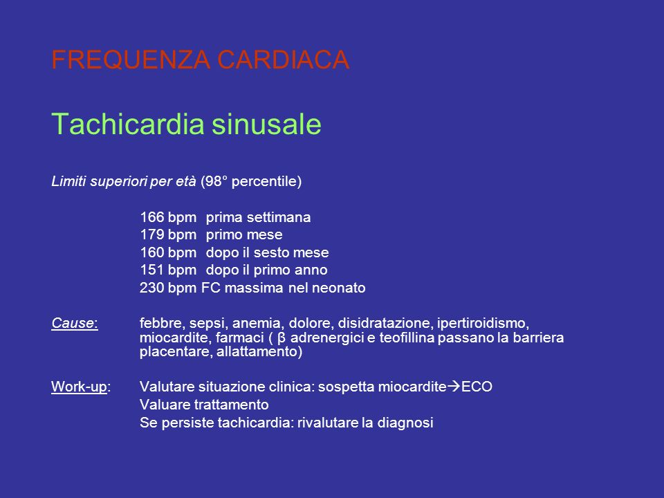 Tachicardia sinusale FREQUENZA CARDIACA