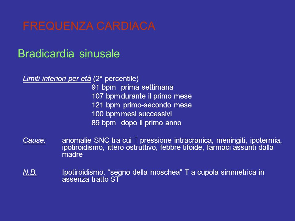 Bradicardia sinusale FREQUENZA CARDIACA