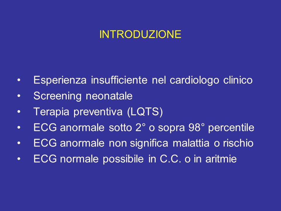 INTRODUZIONE Esperienza insufficiente nel cardiologo clinico. Screening neonatale. Terapia preventiva (LQTS)