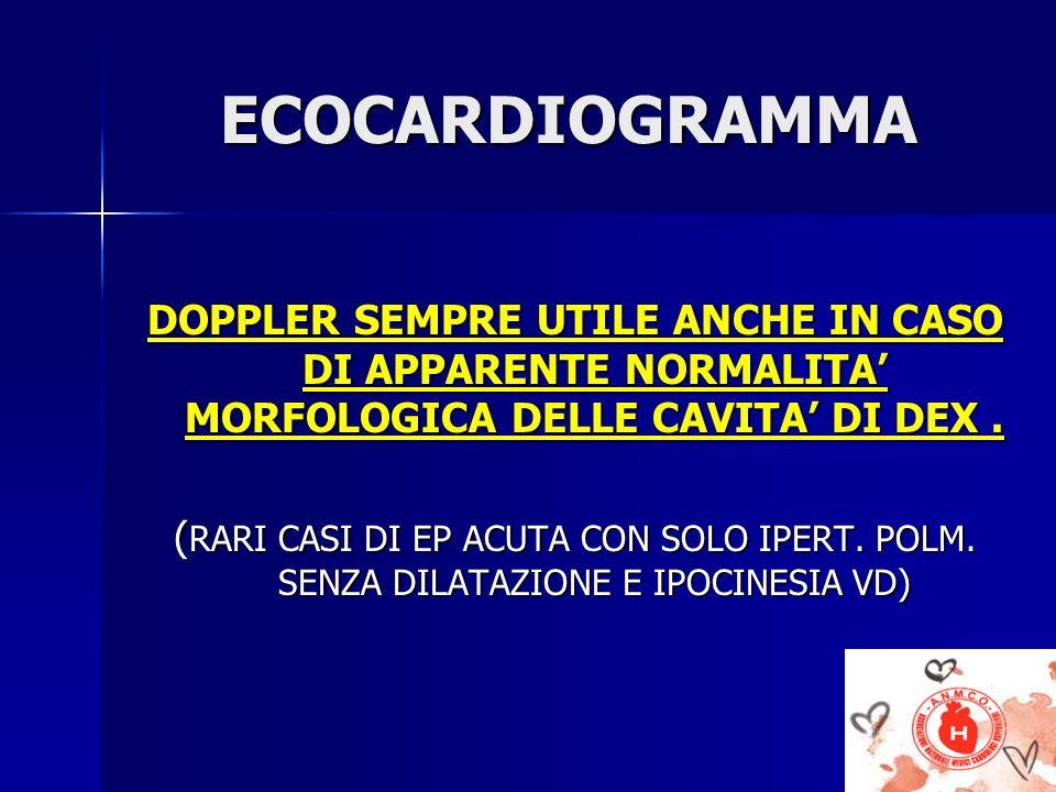 ECOCARDIOGRAMMA DOPPLER SEMPRE UTILE ANCHE IN CASO DI APPARENTE NORMALITA' MORFOLOGICA DELLE CAVITA' DI DEX .