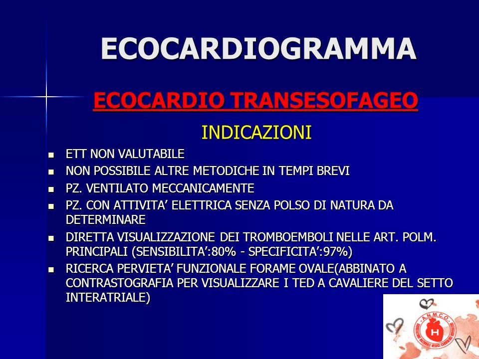 ECOCARDIOGRAMMA ECOCARDIO TRANSESOFAGEO INDICAZIONI ETT NON VALUTABILE