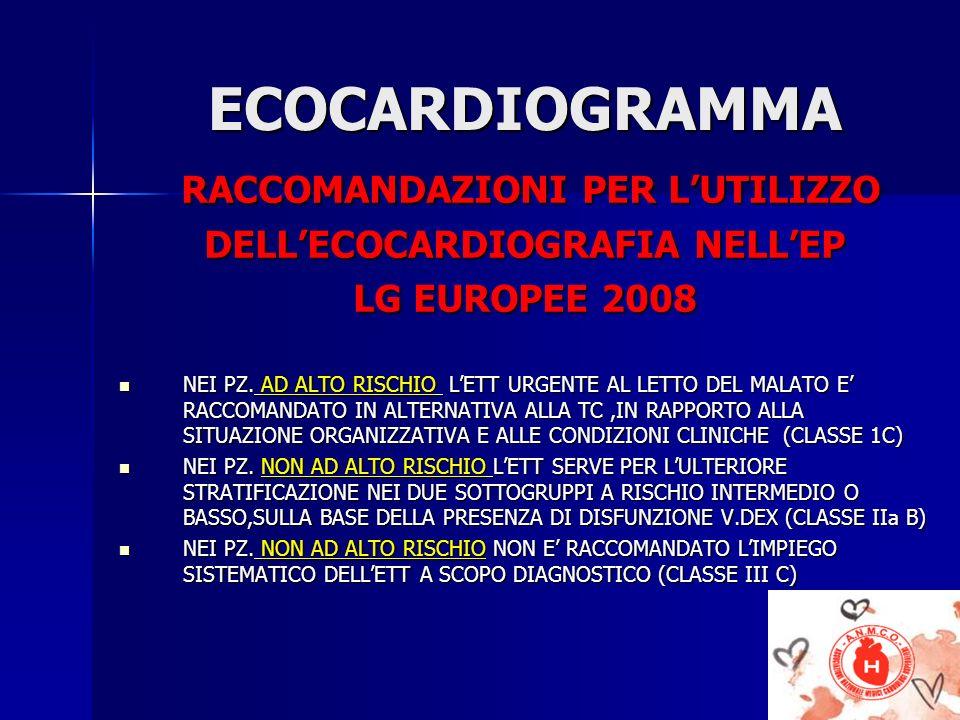 RACCOMANDAZIONI PER L'UTILIZZO DELL'ECOCARDIOGRAFIA NELL'EP
