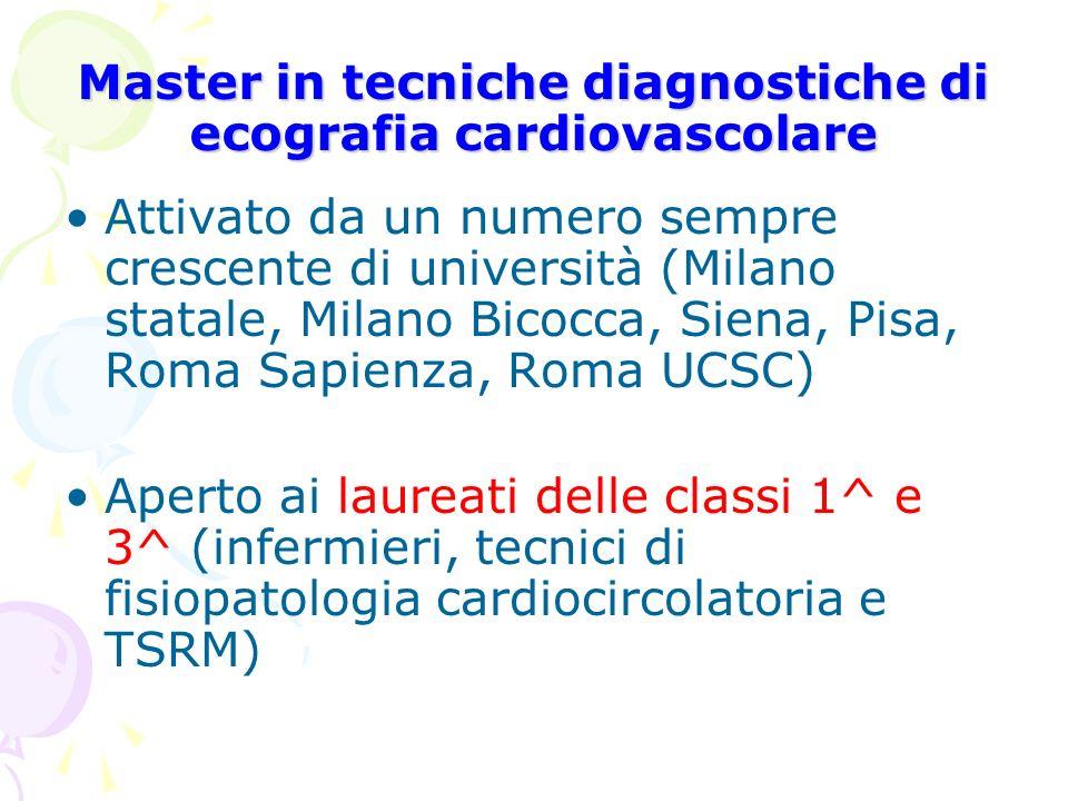Master in tecniche diagnostiche di ecografia cardiovascolare