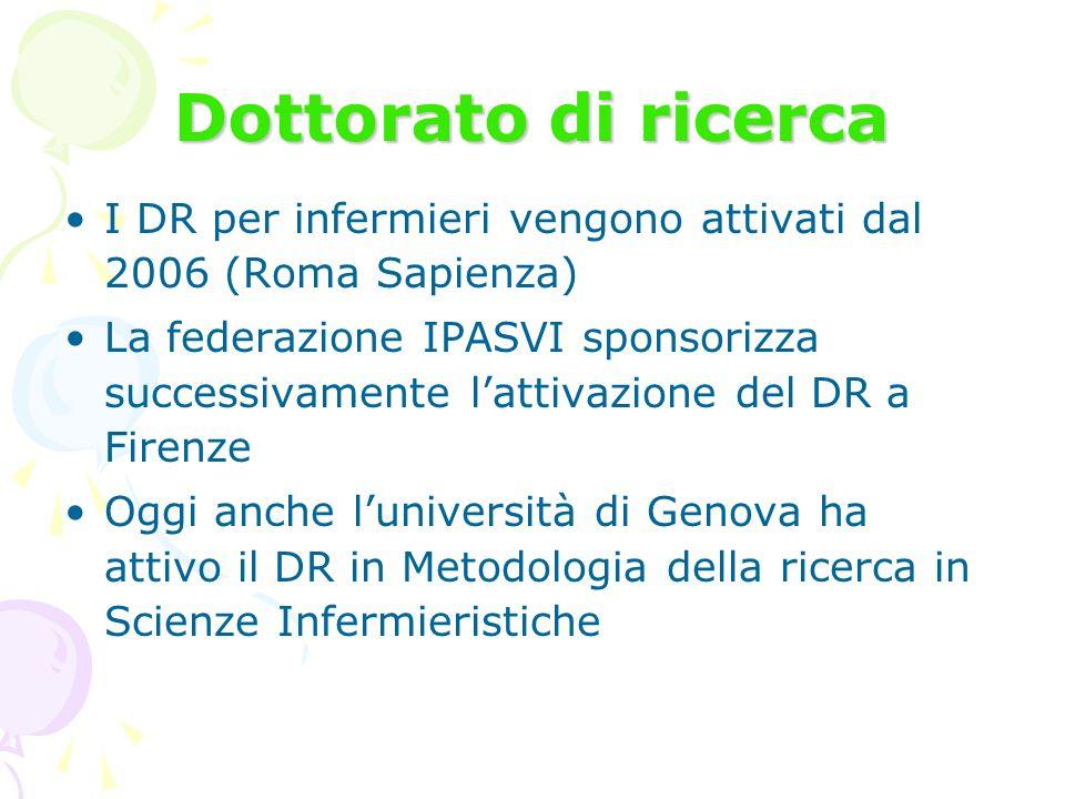 Dottorato di ricerca I DR per infermieri vengono attivati dal 2006 (Roma Sapienza)