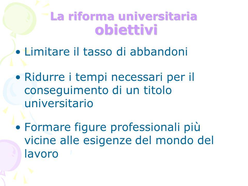 La riforma universitaria obiettivi