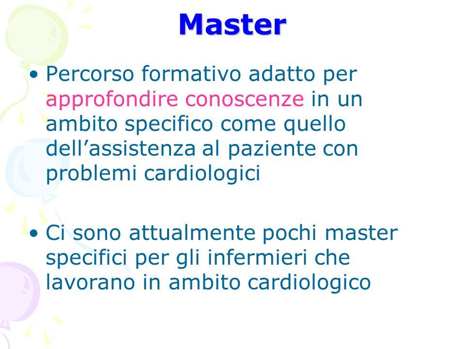 Master Percorso formativo adatto per approfondire conoscenze in un ambito specifico come quello dell'assistenza al paziente con problemi cardiologici.