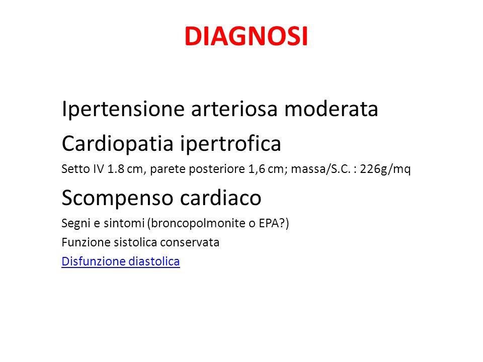 DIAGNOSI Ipertensione arteriosa moderata Cardiopatia ipertrofica