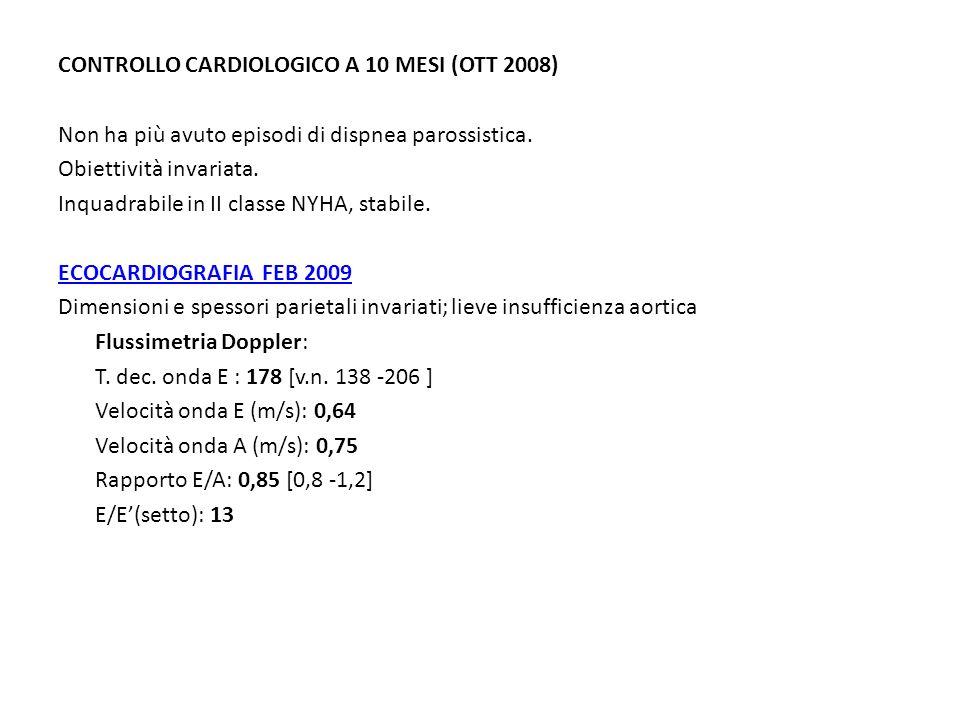 CONTROLLO CARDIOLOGICO A 10 MESI (OTT 2008) Non ha più avuto episodi di dispnea parossistica.