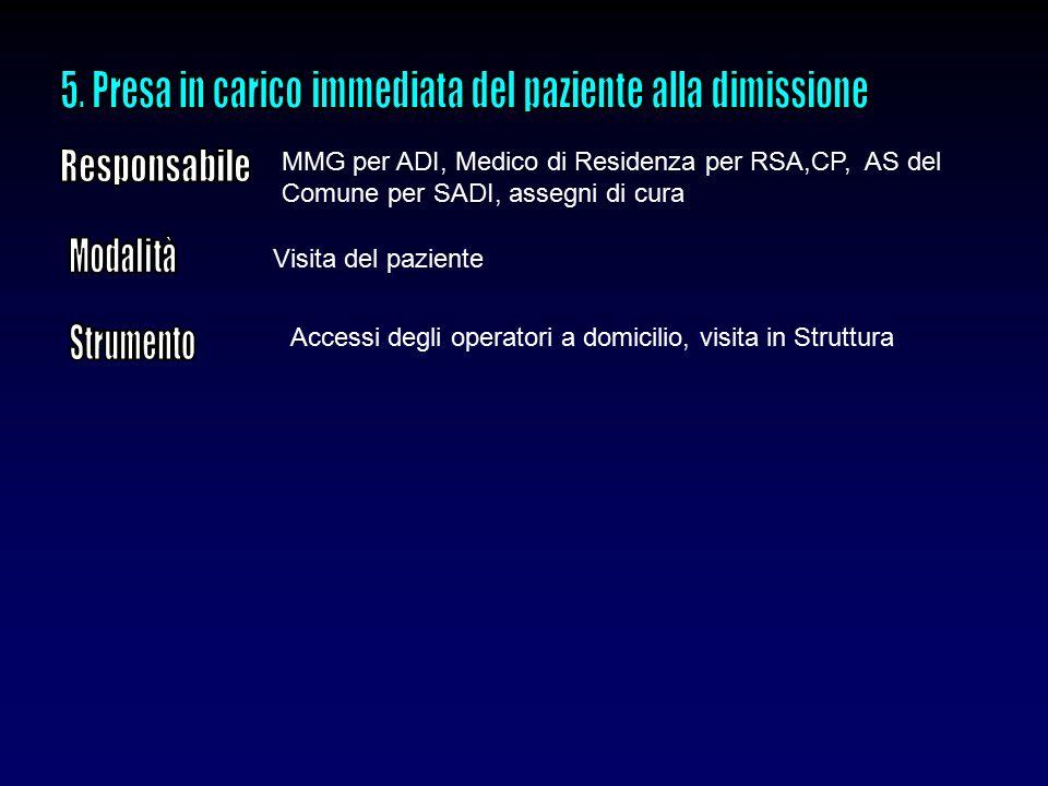 5. Presa in carico immediata del paziente alla dimissione
