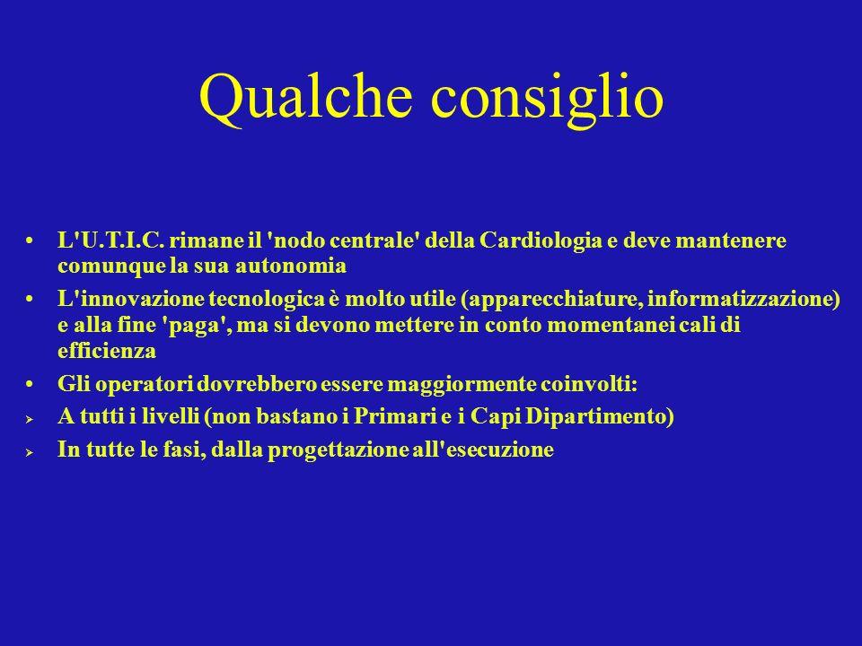 Qualche consiglio L U.T.I.C. rimane il nodo centrale della Cardiologia e deve mantenere comunque la sua autonomia.