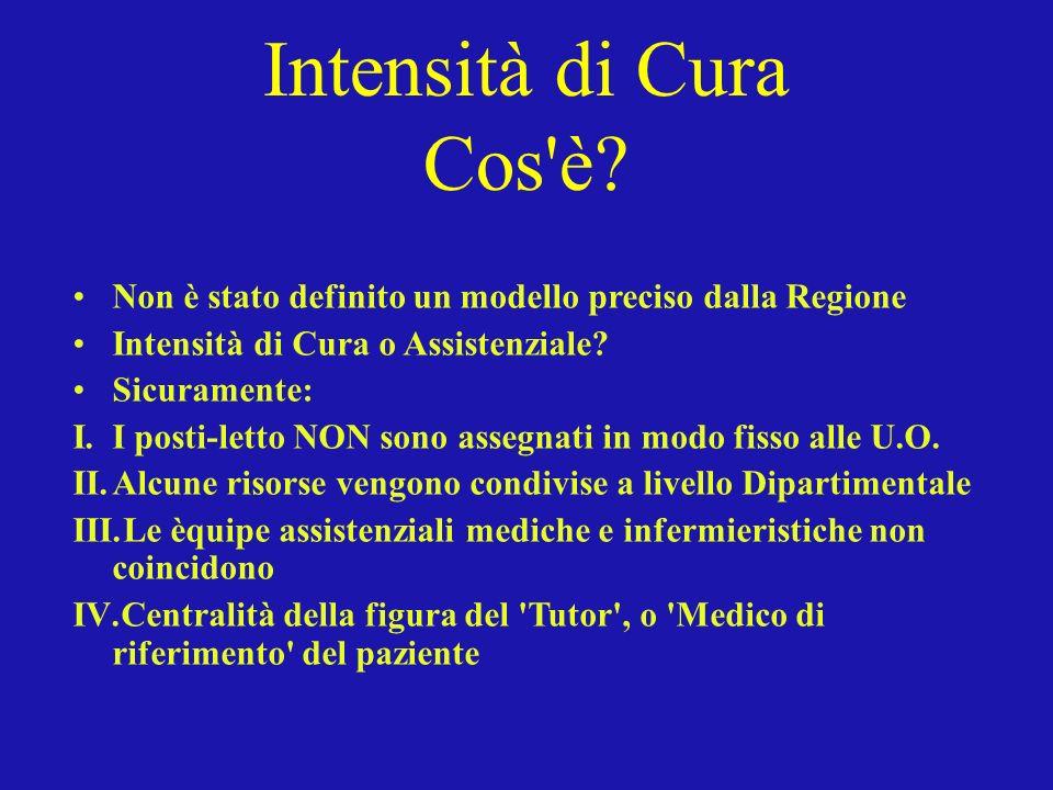 Intensità di Cura Cos è Non è stato definito un modello preciso dalla Regione. Intensità di Cura o Assistenziale