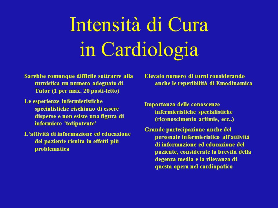 Intensità di Cura in Cardiologia