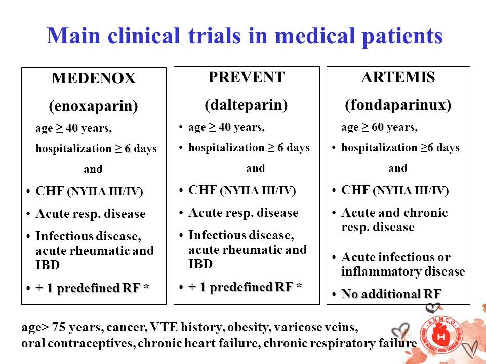 Main clinical trials in medical patients