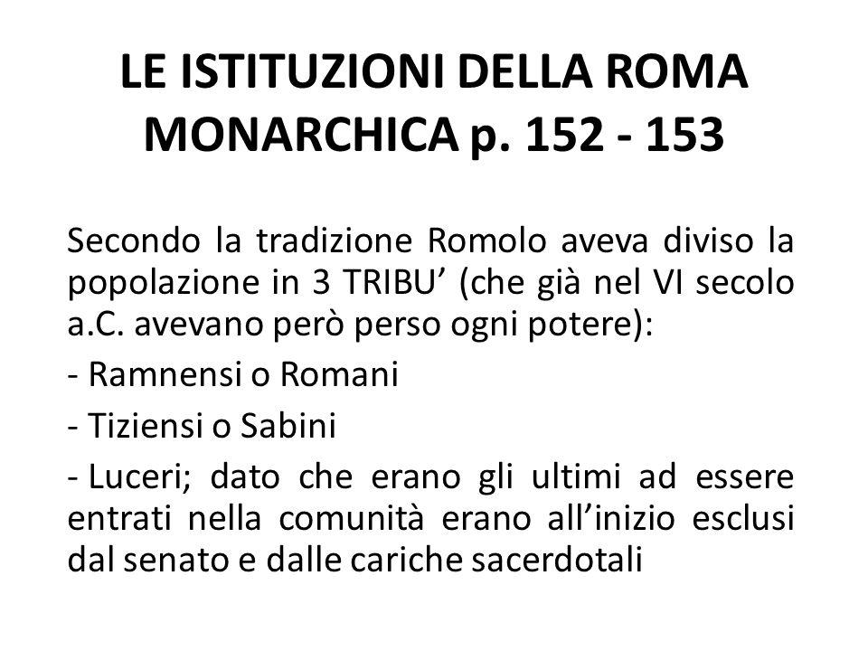 LE ISTITUZIONI DELLA ROMA MONARCHICA p. 152 - 153