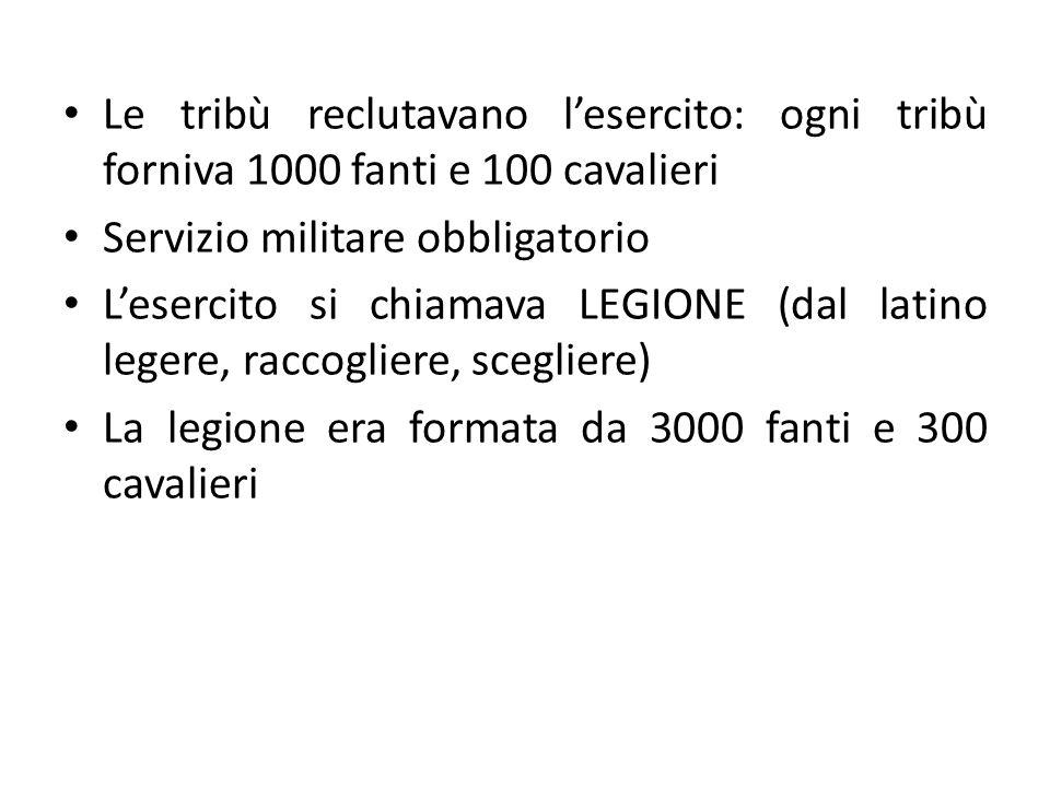 Le tribù reclutavano l'esercito: ogni tribù forniva 1000 fanti e 100 cavalieri
