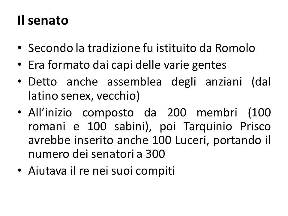 Il senato Secondo la tradizione fu istituito da Romolo