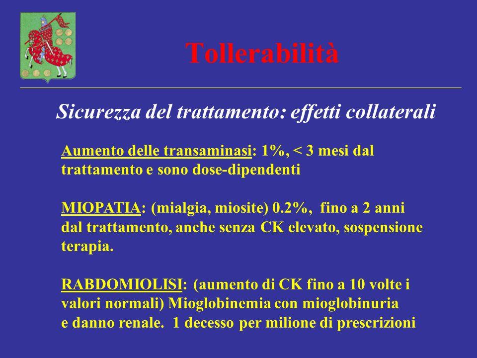 Tollerabilità Sicurezza del trattamento: effetti collaterali