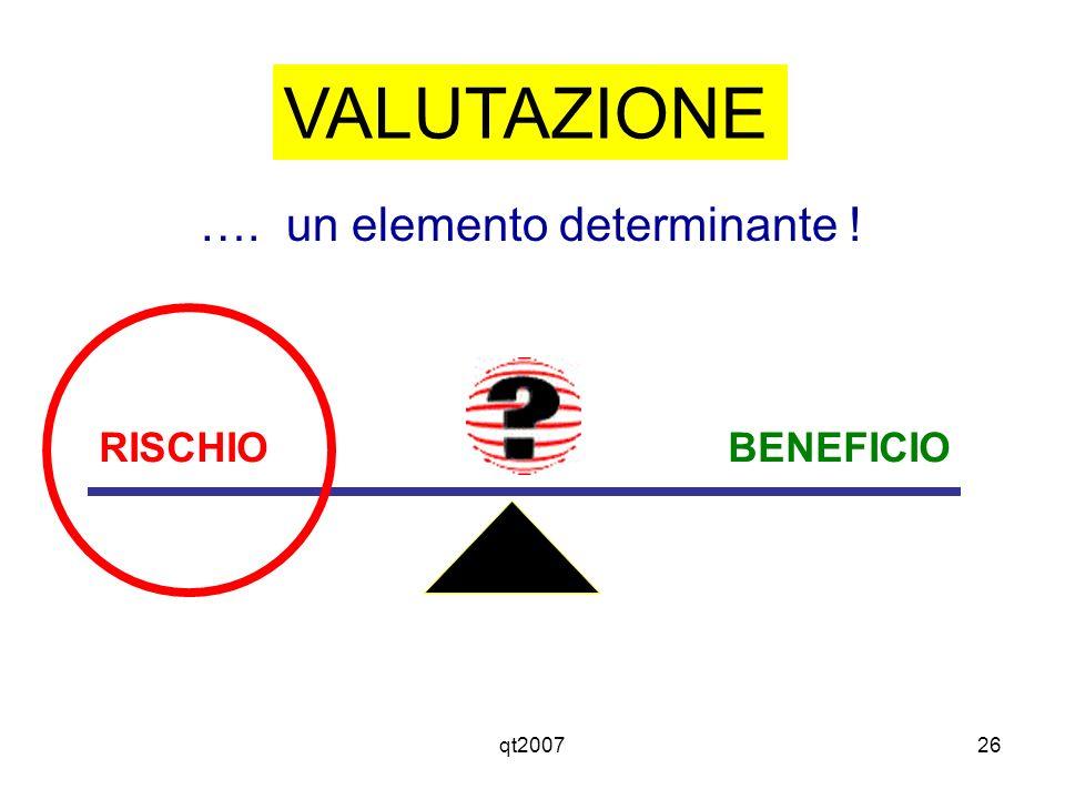 VALUTAZIONE …. un elemento determinante ! RISCHIO BENEFICIO qt2007
