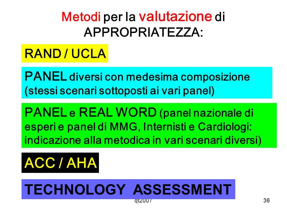 Metodi per la valutazione di APPROPRIATEZZA: