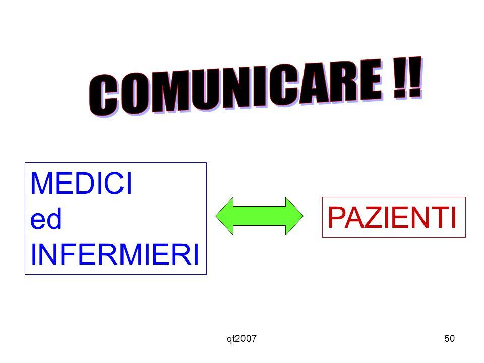 COMUNICARE !! MEDICI ed INFERMIERI PAZIENTI qt2007