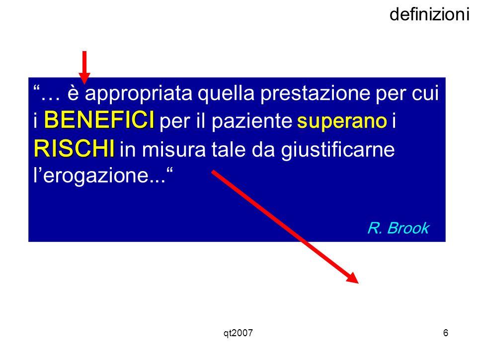 definizioni … è appropriata quella prestazione per cui i BENEFICI per il paziente superano i RISCHI in misura tale da giustificarne l'erogazione...