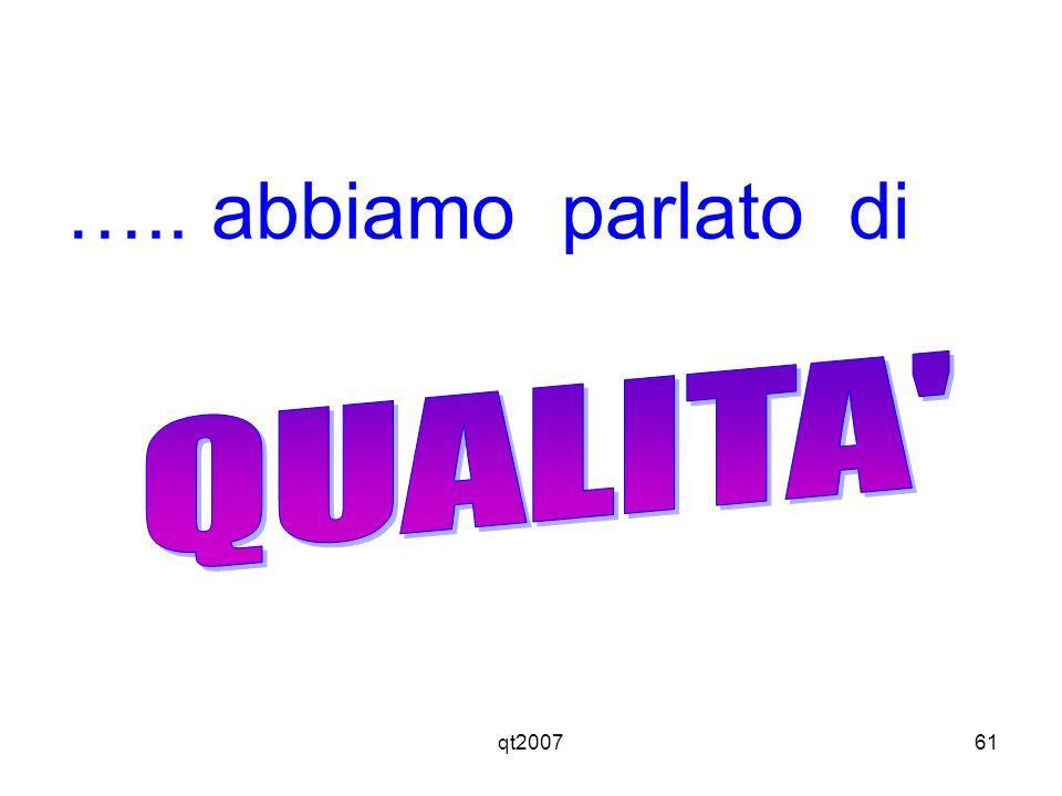 ….. abbiamo parlato di QUALITA qt2007