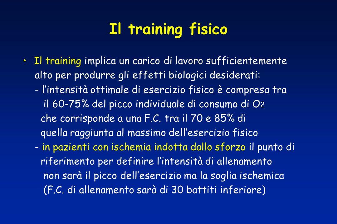 Il training fisico Il training implica un carico di lavoro sufficientemente. alto per produrre gli effetti biologici desiderati: