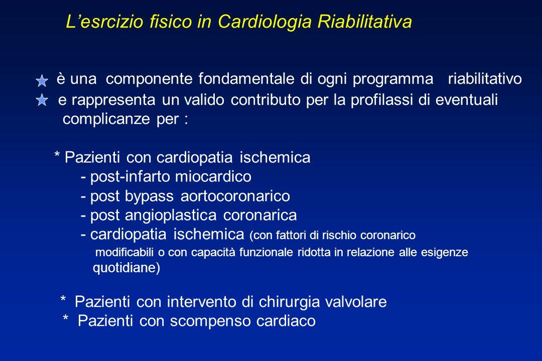 L L'esrcizio fisico in Cardiologia Riabilitativa è una componente fondamentale di ogni programma riabilitativo e rappresenta un valido contributo per la profilassi di eventuali complicanze per : * Pazienti con cardiopatia ischemica - post-infarto miocardico - post bypass aortocoronarico - post angioplastica coronarica - cardiopatia ischemica (con fattori di rischio coronarico modificabili o con capacità funzionale ridotta in relazione alle esigenze quotidiane) * Pazienti con intervento di chirurgia valvolare * Pazienti con scompenso cardiaco U.O.
