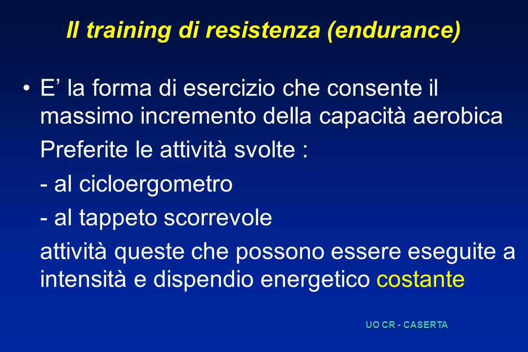 Il training di resistenza (endurance)