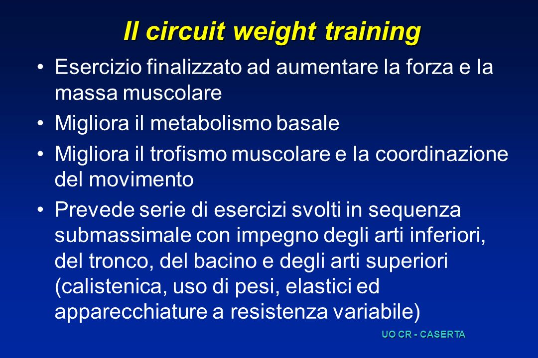 Il circuit weight training