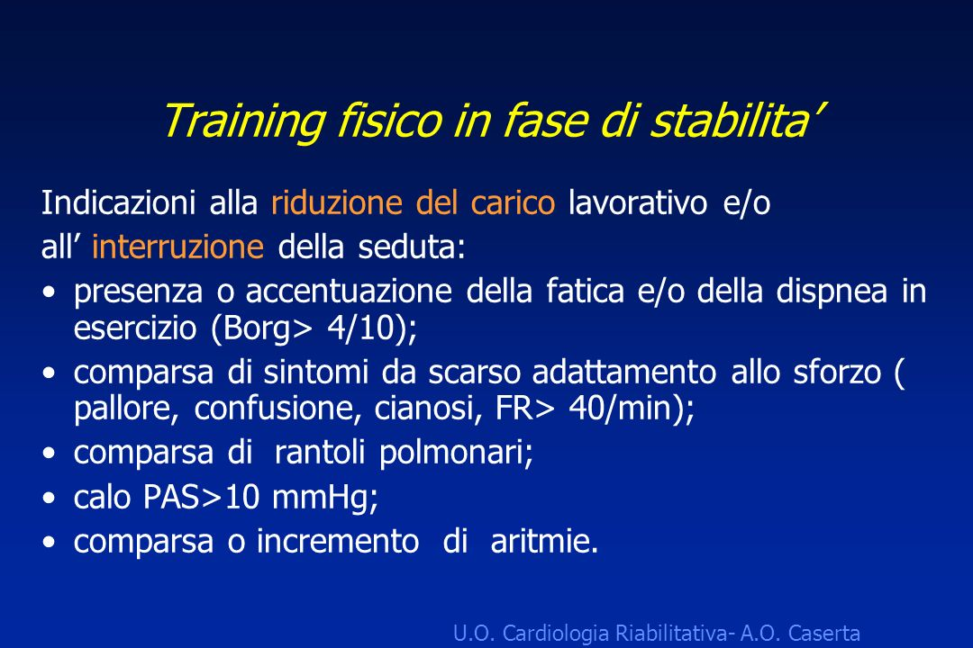Training fisico in fase di stabilita'