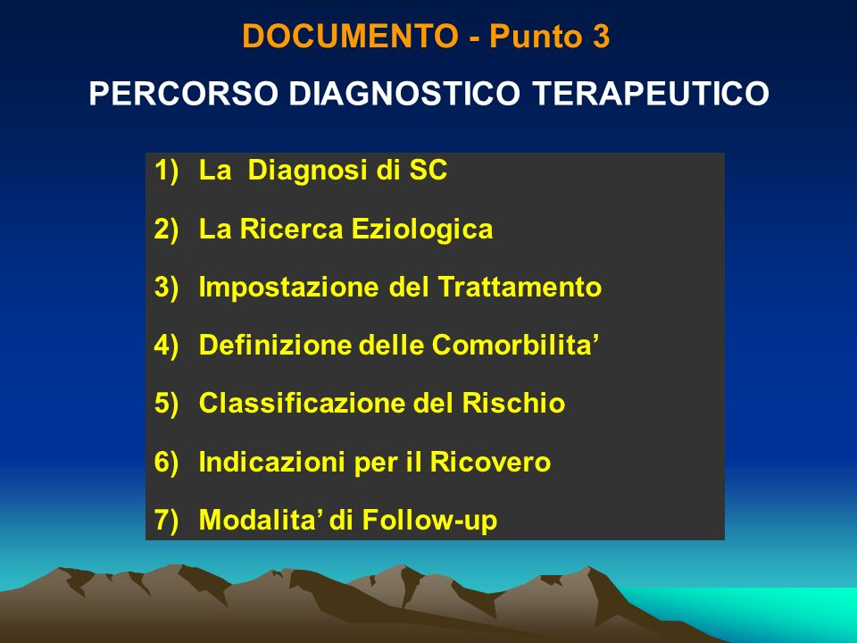 PERCORSO DIAGNOSTICO TERAPEUTICO