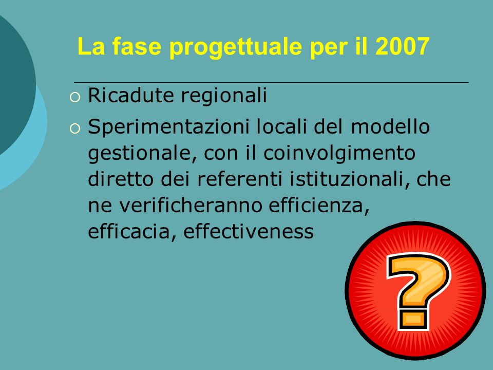 La fase progettuale per il 2007