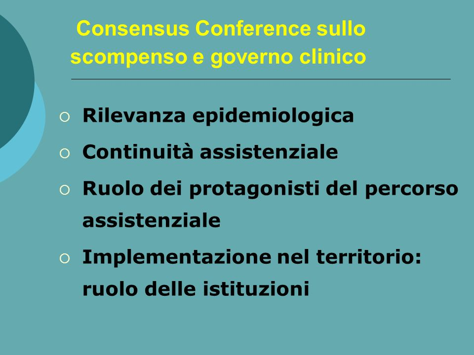 Consensus Conference sullo scompenso e governo clinico