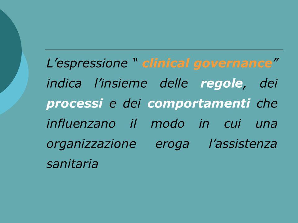 L'espressione clinical governance indica l'insieme delle regole, dei processi e dei comportamenti che influenzano il modo in cui una organizzazione eroga l'assistenza sanitaria