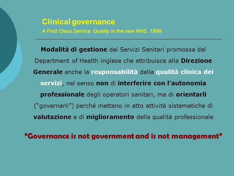 Governance is not government and is not management