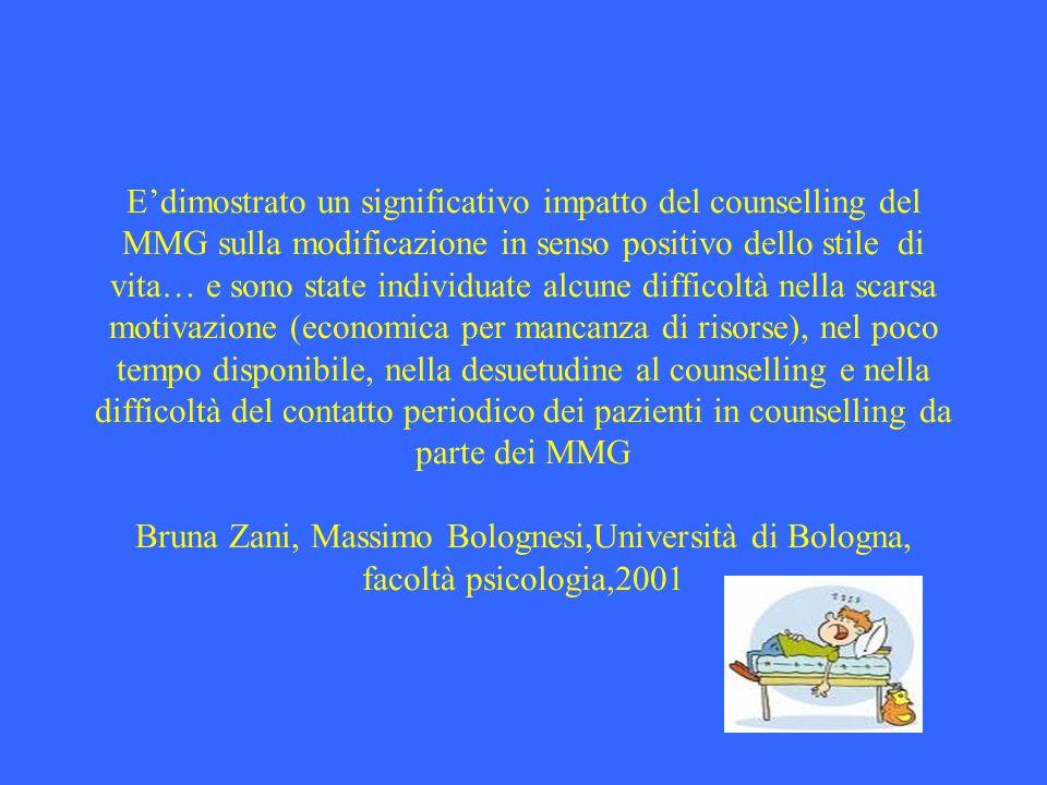 E'dimostrato un significativo impatto del counselling del MMG sulla modificazione in senso positivo dello stile di vita… e sono state individuate alcune difficoltà nella scarsa motivazione (economica per mancanza di risorse), nel poco tempo disponibile, nella desuetudine al counselling e nella difficoltà del contatto periodico dei pazienti in counselling da parte dei MMG Bruna Zani, Massimo Bolognesi,Università di Bologna, facoltà psicologia,2001