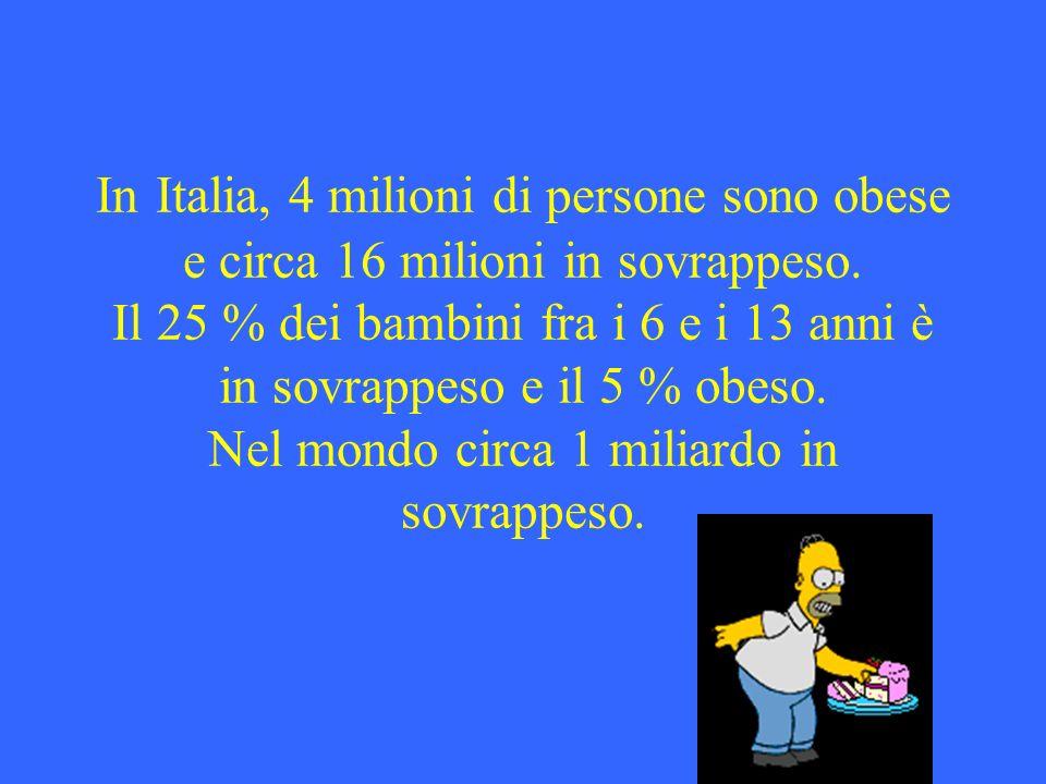 In Italia, 4 milioni di persone sono obese e circa 16 milioni in sovrappeso.