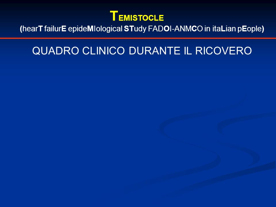 TEMISTOCLE QUADRO CLINICO DURANTE IL RICOVERO