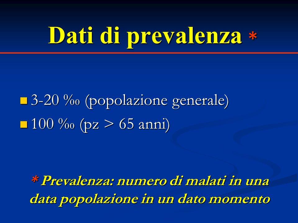 Dati di prevalenza * 3-20 ‰ (popolazione generale)