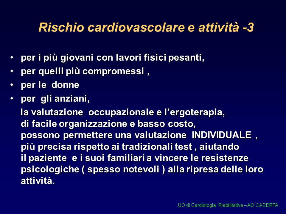 Rischio cardiovascolare e attività -3