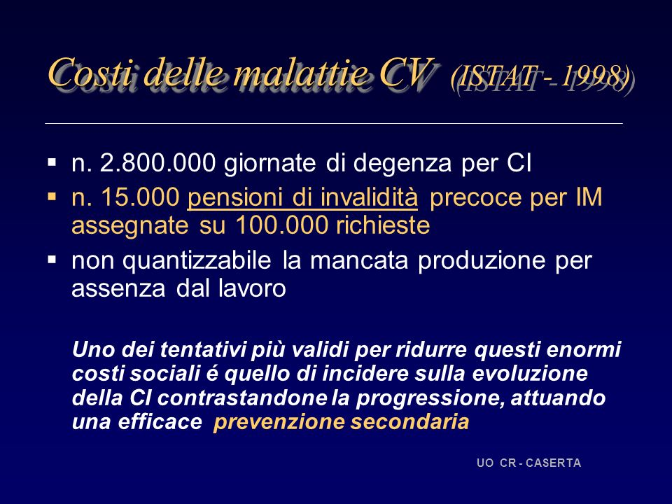 Costi delle malattie CV (ISTAT - 1998)