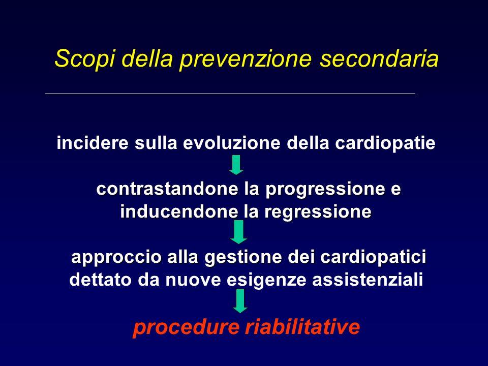 Scopi della prevenzione secondaria incidere sulla evoluzione della cardiopatie contrastandone la progressione e inducendone la regressione approccio alla gestione dei cardiopatici dettato da nuove esigenze assistenziali procedure riabilitative UO CR - CASERTA