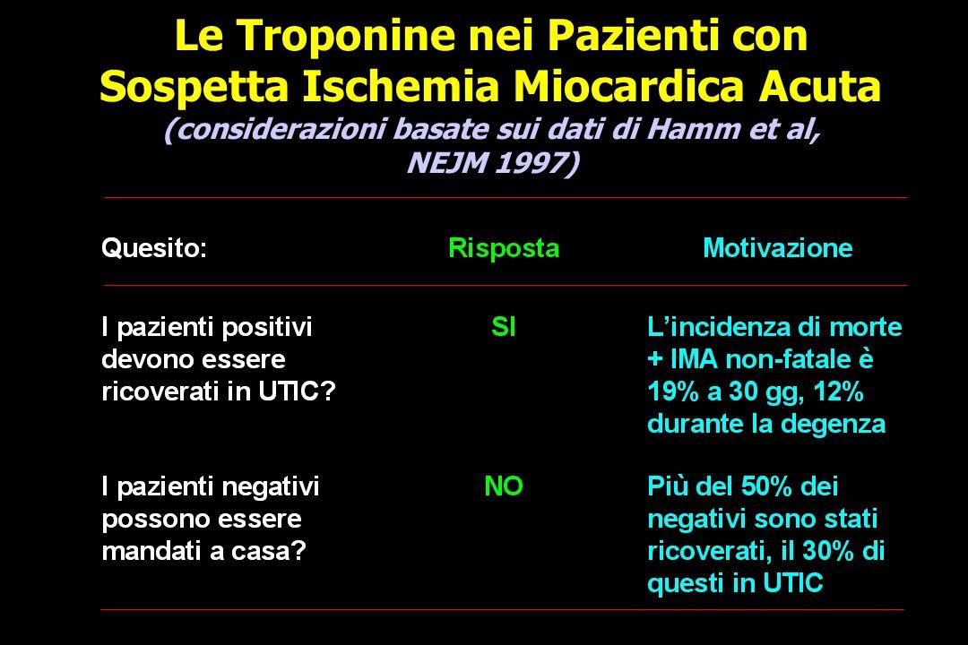 Le Troponine nei Pazienti con Sospetta Ischemia Miocardica Acuta (considerazioni basate sui dati di Hamm et al, NEJM 1997)