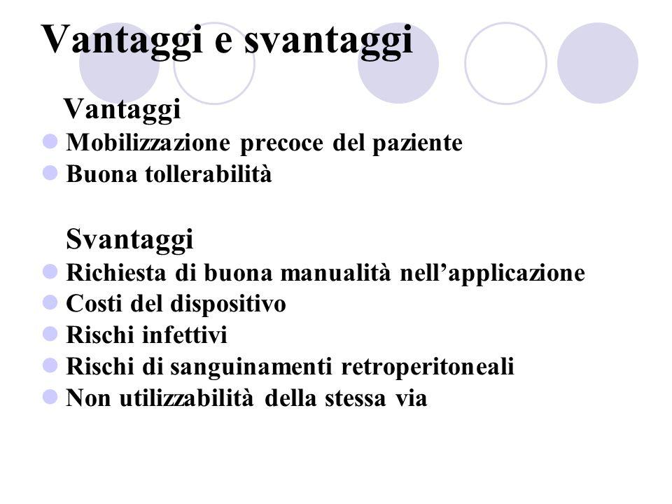 Vantaggi e svantaggi Vantaggi Mobilizzazione precoce del paziente