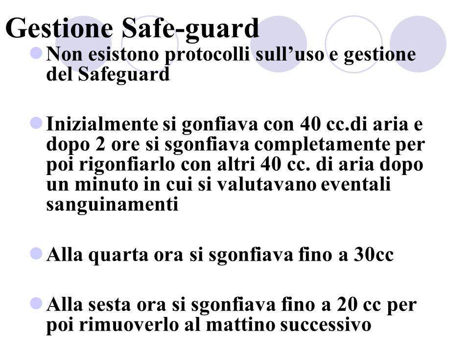 Gestione Safe-guard Non esistono protocolli sull'uso e gestione del Safeguard.