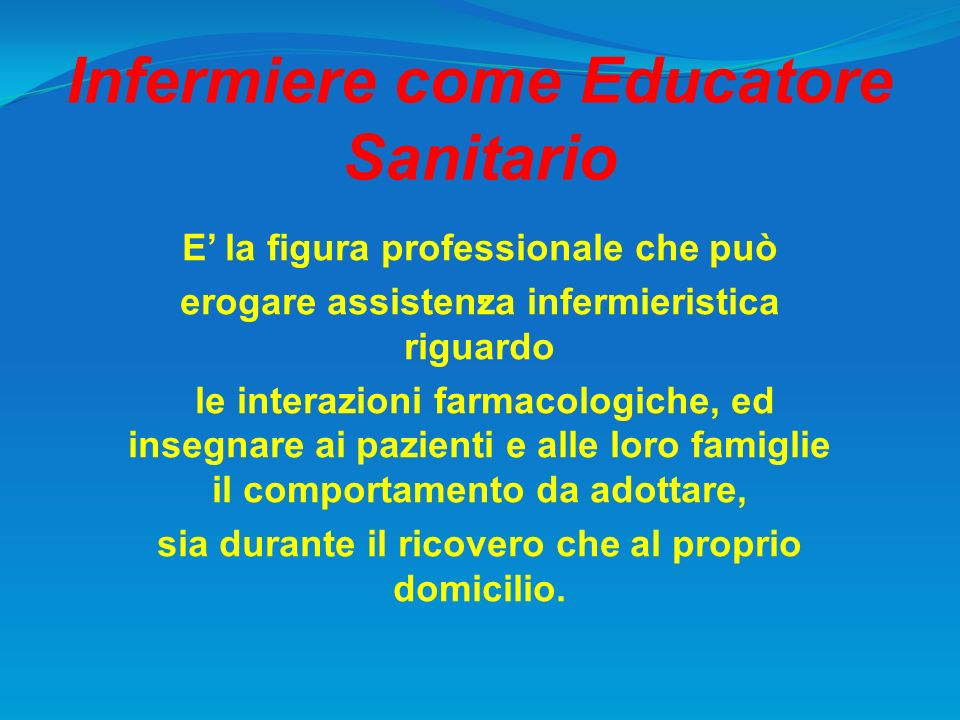 Infermiere come Educatore Sanitario
